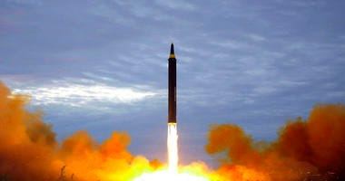 This Aug. 29, 2017, file photo by the North Korean government shows what was said to be the test launch of a Hwasong-12 intermediate range missile in Pyongyang, North Korea.