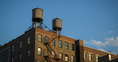 Old Factory With Water Tanks