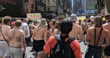 Topless march in Midtown