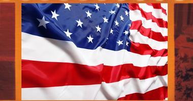 Old 35mm frame photo film with U.S. flag