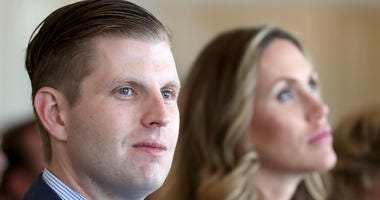 6/28/2017 - Eric Trump, son of US President Donald Trump, with his wife Lara, during the opening of the new golf course at Trump Turnberry in Ayrshire.