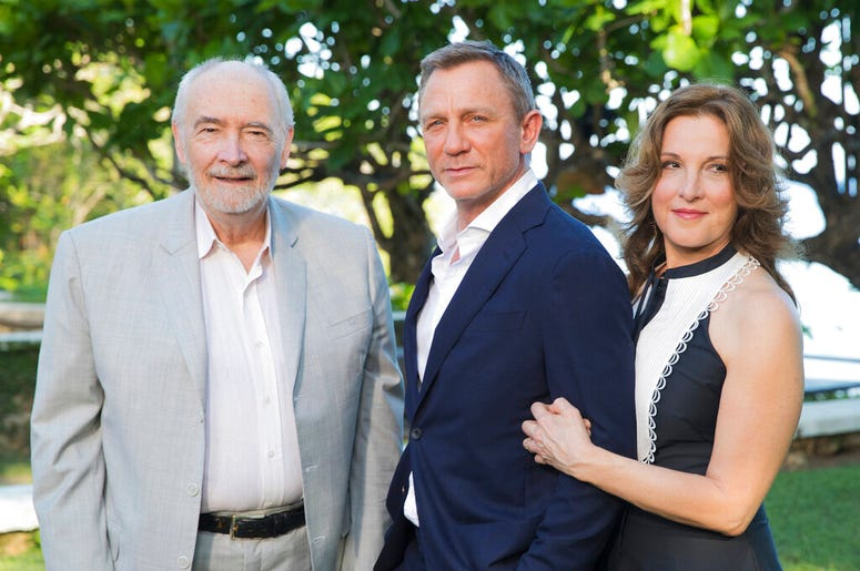 Producers Michael G Wilson, left, and Barbara Broccoli, right, with actor Daniel Craig