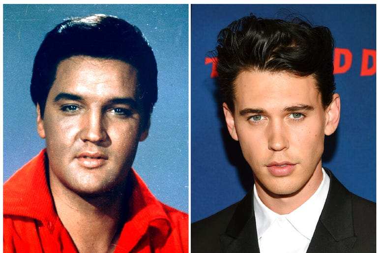 Elvis Presley in a 1964 photo, left, and actor Austin Butler