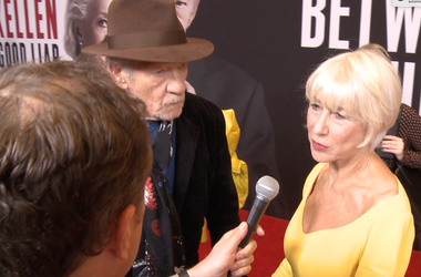 Dame Helen Mirren and Sir Ian McKellen with Brad Blanks