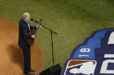 James Taylor performs the national anthem in game one of the 2018 World Series