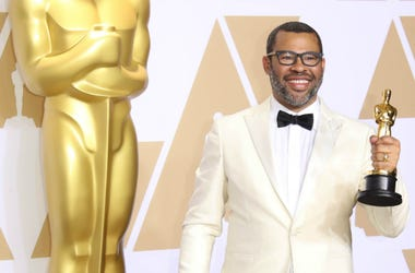 Jordan Peele, winner of the award for best original screenplay for 'Get Out', poses in the photo room during the 90th Academy Awards at Dolby Theatre.
