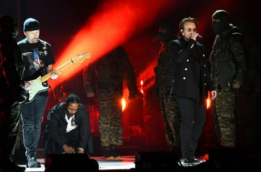 U2 and Kendrick Lamar at the GRAMMYs