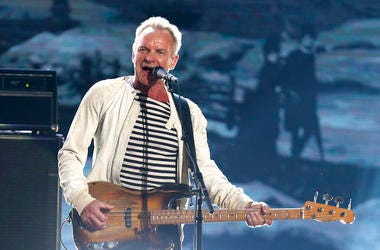 Sting performing at the 60th annual Grammy Awards in New York