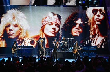 Guns N' Roses performs with singer Myles Kennedy after their induction into the Rock and Roll Hall of Fame in Cleveland