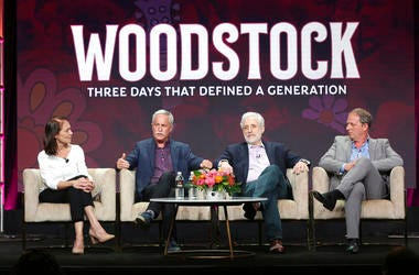 Susan Bellows, from left, author Joel Makower, Joel Rosenman, co-producer of the 1969 Woodstock festival, and director/writer/producer Barak Goodman