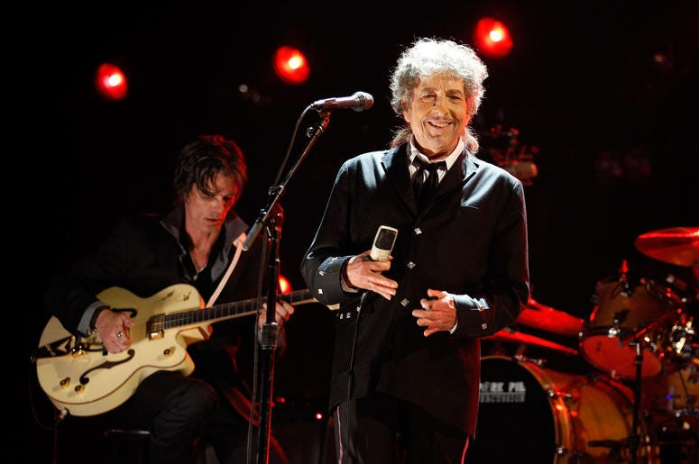 Bob Dylan Performing with His Band