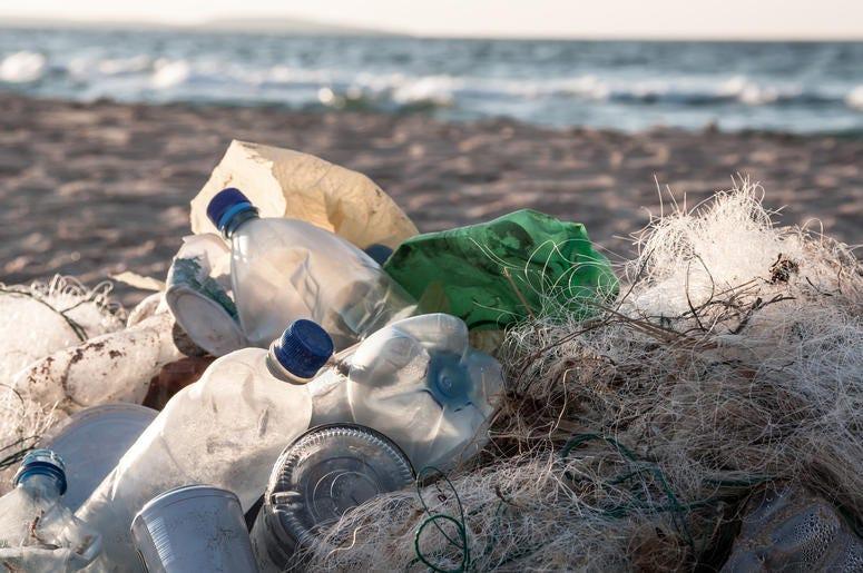 Waste on the beach