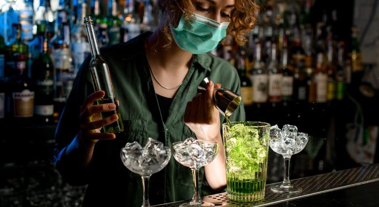 Bar, masks, drinks