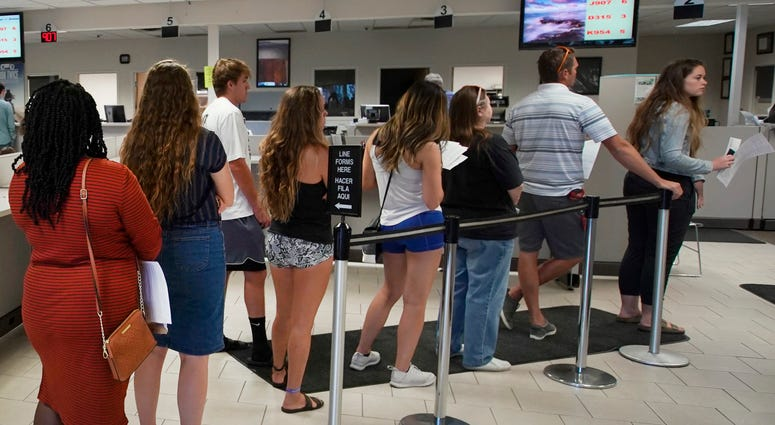 Waiting in line for license