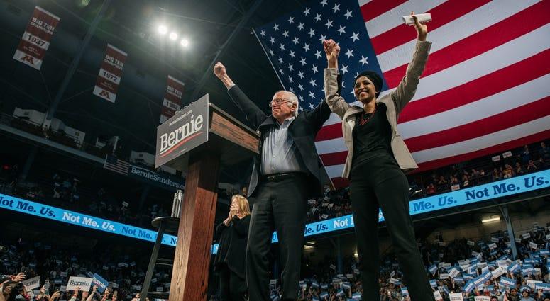Bernie Sanders and Omar at Williams Arena