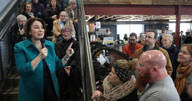 Democratic presidential candidate Sen. Amy Klobuchar (D-MN) speaks to an overflow crowd during a campaign stop at Crawford Brew Works on February 01, 2020 in Bettendorf, Iowa. Iowa's first-in-the-nation caucuses will be held on February 3.
