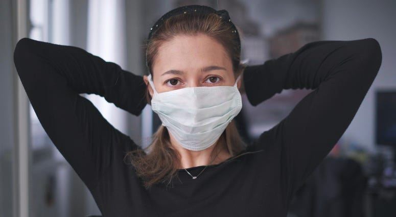 Woman wearing surgical mask for coronavirus isolation
