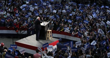 2 Democratic presidential candidate Sen. Bernie Sanders (I-VT) addresses an overflow crowd during a campaign rally at the Roy Wilkins Auditorium March 02, 2020 in St. Paul, Minnesota