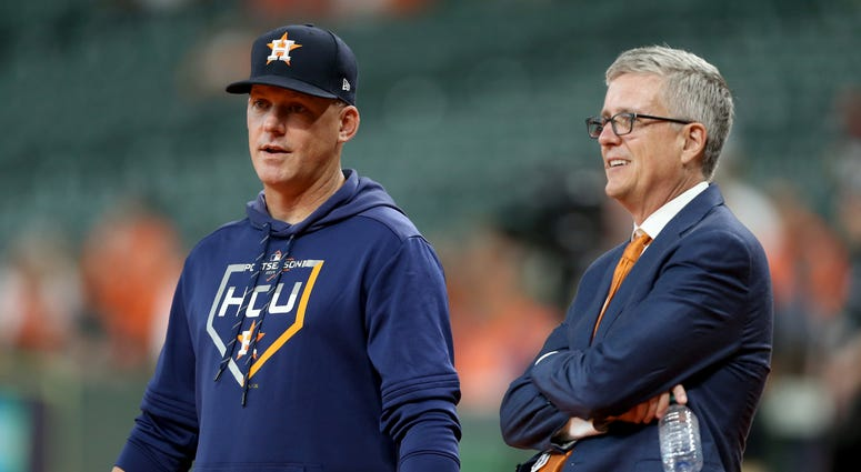Houston Manager AJ Hinch, general manager Jeff Luhnow