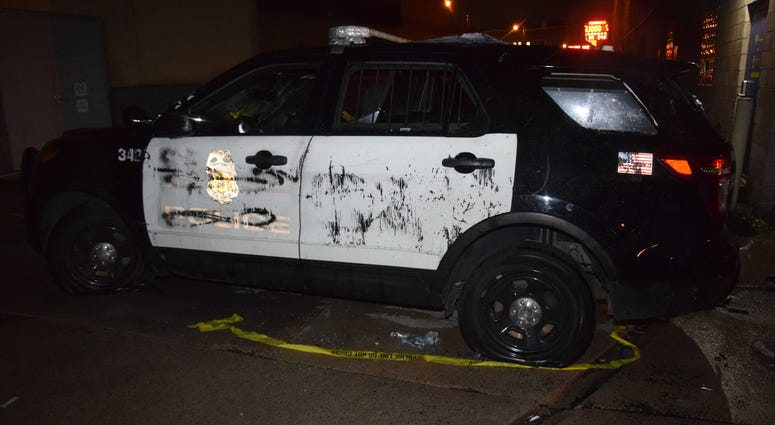 Minneapolis Police Truck damaged