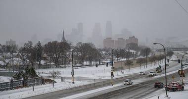 Downtown Minneapolis, snow