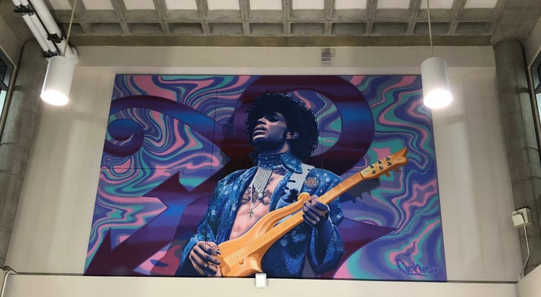 Prince mural installation MSP