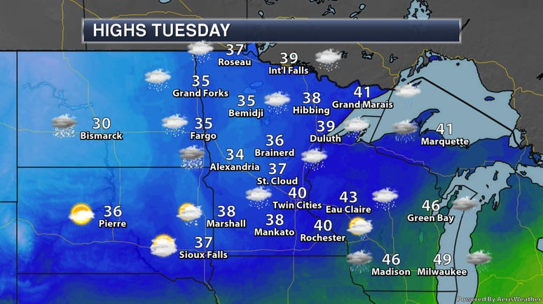 Midwest Tuesday Highs