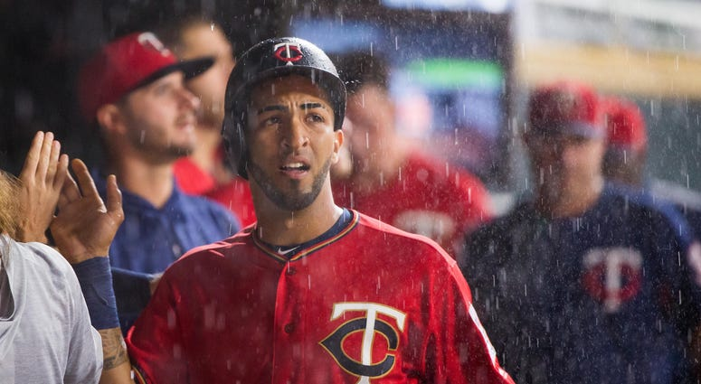 Eddie Rosario looks at the rain