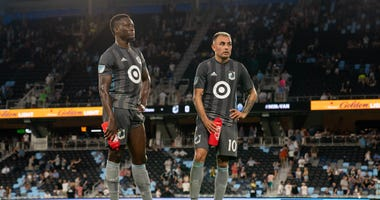 Loons players Abu Danladi and Miguel Ibarra