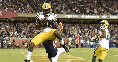 Interception by Adrian Amos of the Packers