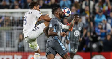 Loons defender Romain Metanire plays the ball against the LA Galaxy in the playoffs