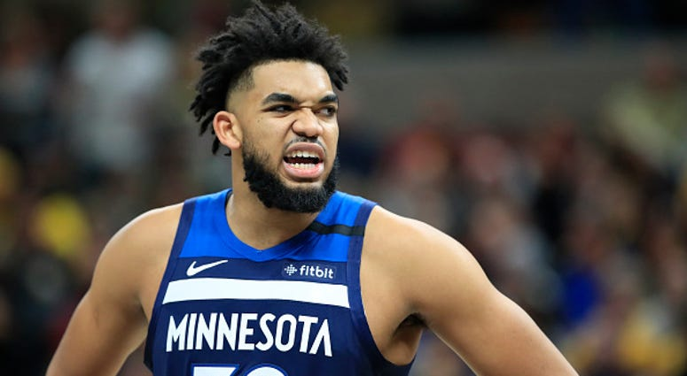 Karl-Anthony Towns reacts after a play with the Timberwolves.