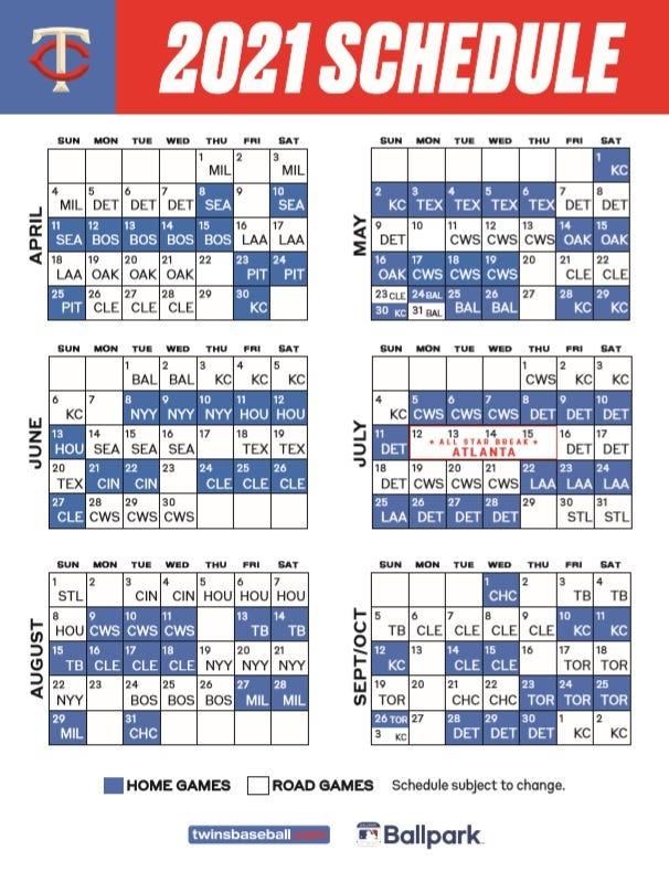 2021 Twins Schedule