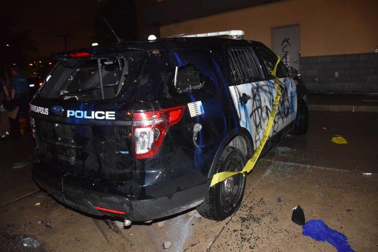 Destroyed police car