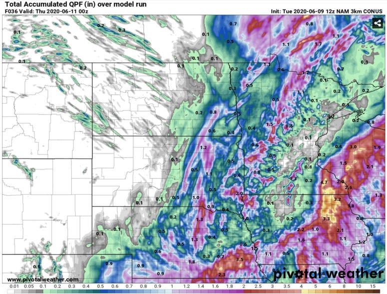 Predicted Rainfall Amounts 6-9-20