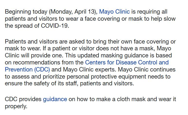 Mayo Mask Policy