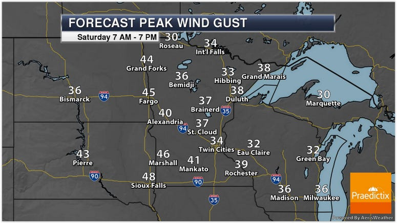 Saturday Peak winds