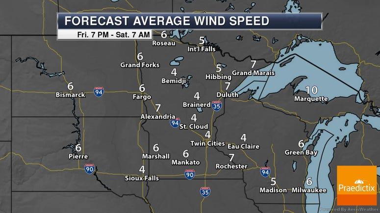 Saturday AM Wind Speeds