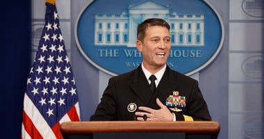 Admiral Ronny Jackson gives an address regarding President Donald Trump's health from a recent exam during the White House press briefing at the White House in Washington D.C., United States of America on Jan 16, 2018.