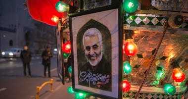 - A poster of top Iranian commander Qasem Soleimani is seen on a street in Tehran, Iran, on Jan. 3, 2020.