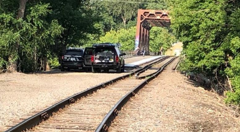 Railroad bridge where body was found