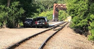 Railroad bridge where body was found
