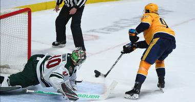 Devan Dubnyk gets beat by Ryan Johansen in shootout