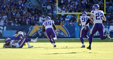Dec 15, 2019; Carson, CA, USA; Minnesota Vikings defensive end Ifeadi Odenigbo (95) scoops up a fumble and runs it back for a touchdown against the Los Angeles Chargers during the second quarter at Dignity Health Sports Park.