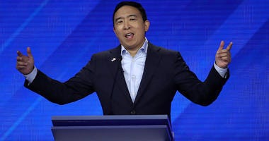 Democratic presidential candidate former tech executive Andrew Yang speaks during the Democratic Presidential Debate at Texas Southern University's Health and PE Center on September 12, 2019 in Houston, Texas.