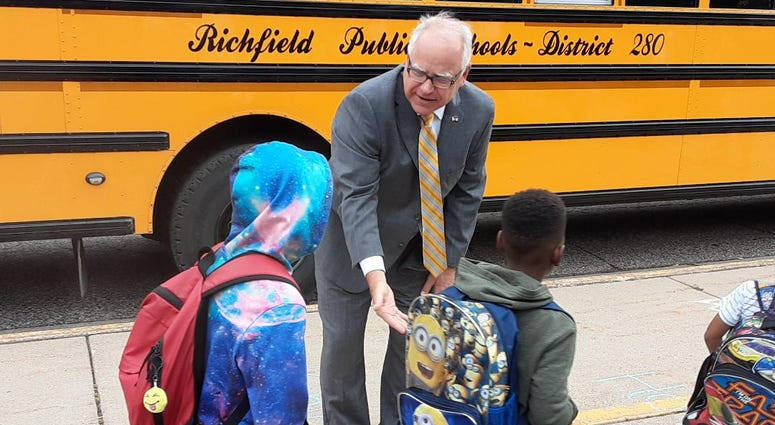 Governor Walz and school kids