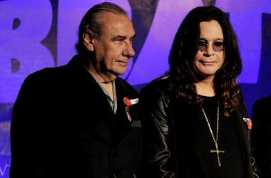 Bill Ward and Ozzy Osbourne at a press conference in 2011