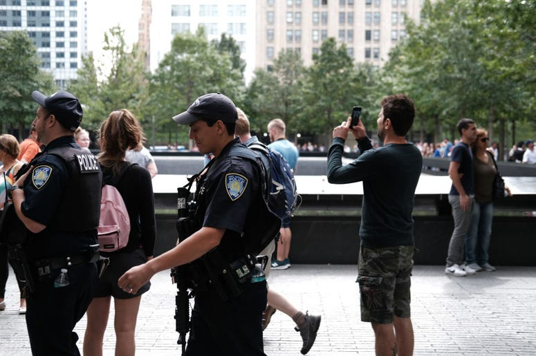 Police patrol on the grounds of the September 11 Memorial and Museum on September 05, 2019 in New York City. New York City is preparing to commemorate the 18th anniversary of the attacks on the World Trade Center in which 2,996 people were killed and over