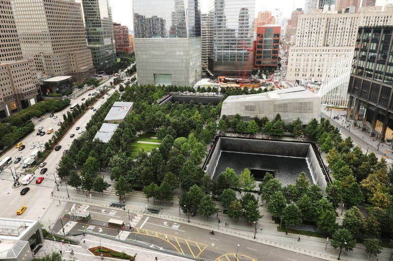 The grounds of the September 11 Memorial and Museum stand in lower Manhattan on September 05, 2019 in New York City. New York City is preparing to commemorate the 18th anniversary of the attacks on the World Trade Center in which 2,996 people were killed