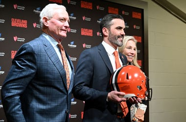 CLEVELAND, OHIO - JANUARY 14: Jimmy and Dee Haslam owners of the Cleveland Browns pose for a photo with Kevin Stefanski after introducing Stefanski as the Browns new head coach on January 14, 2020 in Cleveland, Ohio. (Photo by Jason Miller/Getty Images)